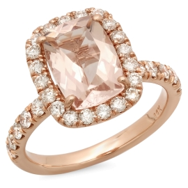 2 carat Morganite Cushion Cut Engagement Ring