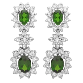 2.14ct Chrome Diopside Diamond Dangle Earrings on White Gold