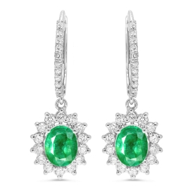 2.15ct Green Emerald and Diamond Drop Earrings on White Gold