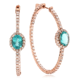 2.16ct Apatite and Diamond Earrings on 14K Rose Gold