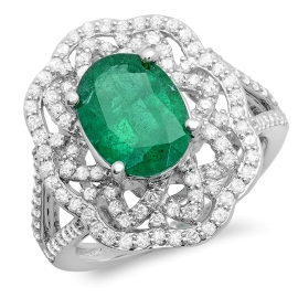 2.26ct Emerald and Diamond Ring on 14k White Gold