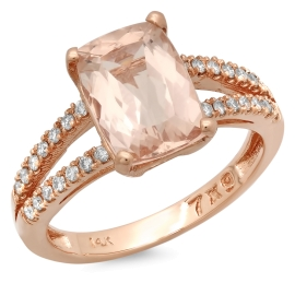 2 carat Cushion Cut Morganite Ring on 14K Rose Gold