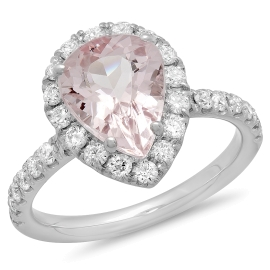 2 carat Pear Cut Morganite Diamond Ring on White Gold