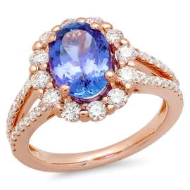 2.41ct Tanzanite and Diamond Halo Ring on 14k Rose Gold