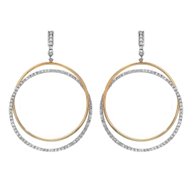 2.45 carat Double Hoop Diamond Earrings on 14K Two Tone Gold