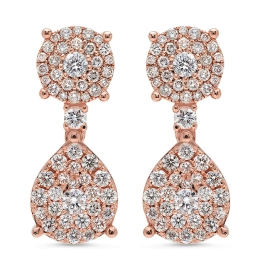 2.48 carat Stud and Drop Diamond Earrings on Rose Gold