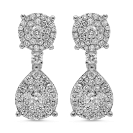 2.48 carat Stud and Drop Diamond Earrings on White Gold
