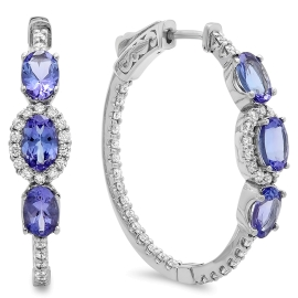 2.58 carat Tanzanite and Diamond Hoop Earrings on 14K White Gold