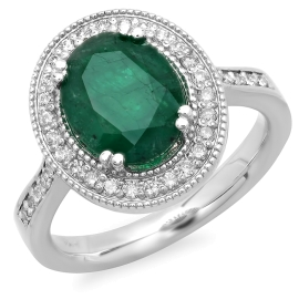 2.61ct Emerald and Diamond Ring on 14K White Gold