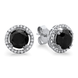 2.7 carat Black Diamond Earrings with Halo on 14K White Gold