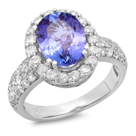 2.86ct Tanzanite and Diamond Halo Ring on 14K White Gold