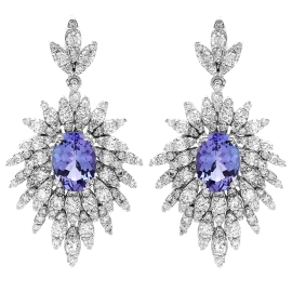 2.92 carat Tanzanite and Diamond Drop Earrings on 14K White Gold