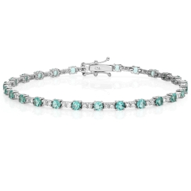 2.99 carat Apatite and Diamond Bracelet on 18K White Gold