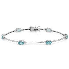 3.18ct Apatite and Diamond Bracelet on 18K White Gold