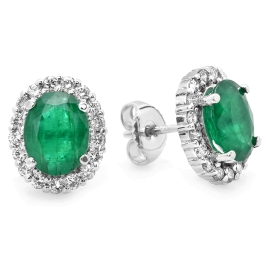 3.1 ct Emerald & Diamond Stud Earrings on White Gold