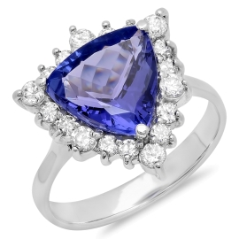 3.47ct Trillion cut Tanzanite and Diamond Ring on White Gold