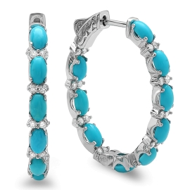 Turquoise & Diamond Hoop Earrings on 14K White Gold