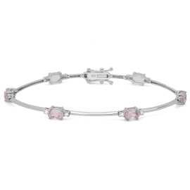 3.85 carat Kunzite and Diamond Bracelet on 18K White Gold