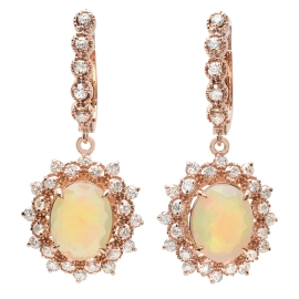 3.90ct Opal and Diamond Drop Earrings on 14K Rose Gold