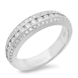 3 Channel Diamond Ring on 14K White Gold