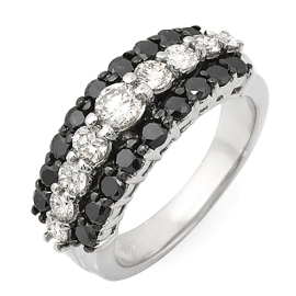 3 Row Black and White Diamond Ring on 14k White Gold