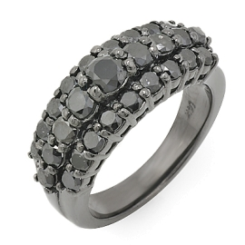 3 Row Black Diamond Ring on 14K Black Gold