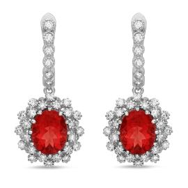 4.29 carat Red Andesine-Labradorite Diamond Drop Earrings on 14K White Gold