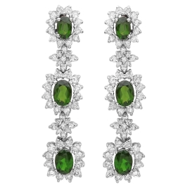 4.38 carat Chrome Diopside Diamond Dangle Earrings on White Gold