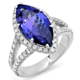 4.49ct Marquise Cut Tanzanite Ring on White Gold
