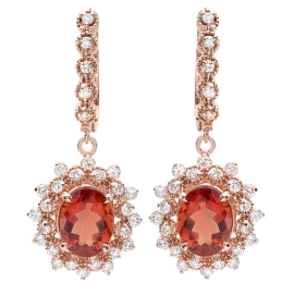 4.57 carat Red Andesine-Labradorite and Diamond Earrings on 14K Rose Gold