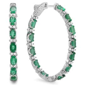 4.68 carat Emerald and Diamond Earrings on 14K White Gold