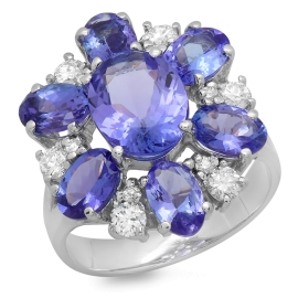 4.77ct Tanzanite and Diamond Flower Ring on 14k White Gold