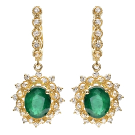 4.86 carat Emerald and Diamond Drop Earrings on 14K Yellow Gold