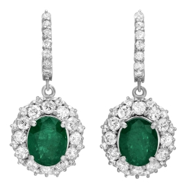 5.14 carat Emerald and Diamond Halo Drop Earrings on White Gold