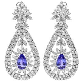 5.38 carat Tanzanite and Diamond Chandelier Earrings on 14K White Gold
