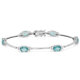 5.54 carat Apatite and Diamond Bracelet on 18K White Gold