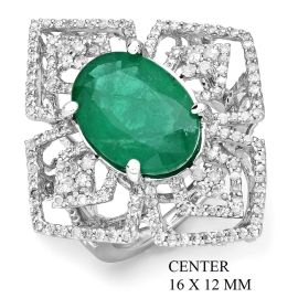 5.71ct Emerald and Diamond Ring on 14k White Gold