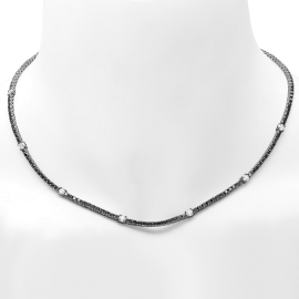 Black Diamond Tennis Necklace on solid Gold