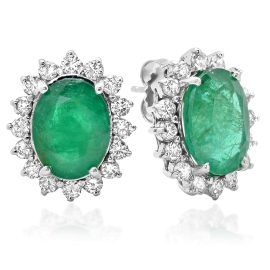 7.79 carat Oval Emerald and Diamond Earrings on White Gold