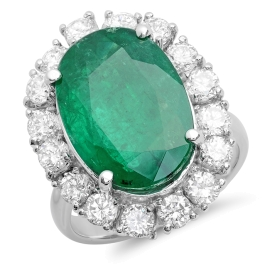 8.58ct Emerald and Diamond Ring on 14K White Gold