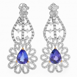 8.59 carat Tanzanite and Diamond Chandelier Earrings on 14K White Gold