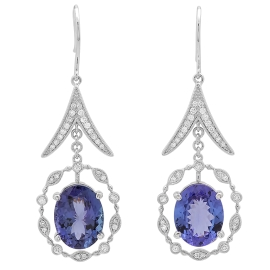 9.06ct Tanzanite and Diamond Dangle Earrings on 14K White Gold
