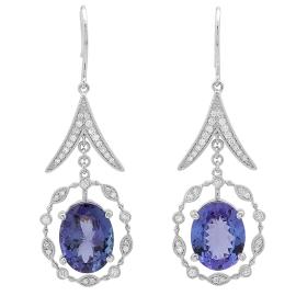 9.06 ct Tanzanite & Diamond Dangle Earrings on 14K White Gold
