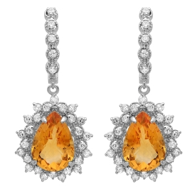 9.78ct Citrine and Diamond Drop Earrings on 14K White Gold