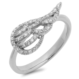 Angel Wing Diamond Ring on 14K White Gold