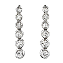 Bezel Set Diamond Dangle Earrings on 14K White Gold