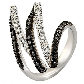 Black and White Diamond Swirl Ring on 14K White Gold