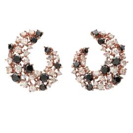 Black Diamond Cluster Earrings on Rose Gold