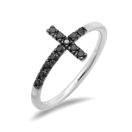 Black Diamond Cross Ring on 14K Black Gold