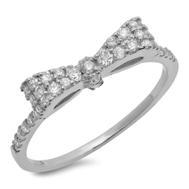 Bow Tie Diamond Ring on 14K White Gold